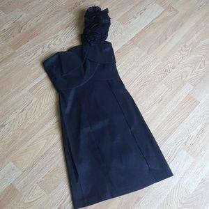 One shoulder party dress shimmer black hot style